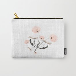 Sweet dandelions in pink - Floral Watercolor illustration with Glitter Carry-All Pouch