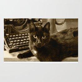 Black cat and vintage typewriter  Rug