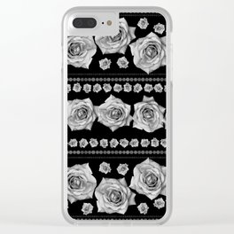 Black and White Floral #3 Clear iPhone Case