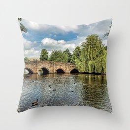 5 Arches of Bakewell Bridge Throw Pillow