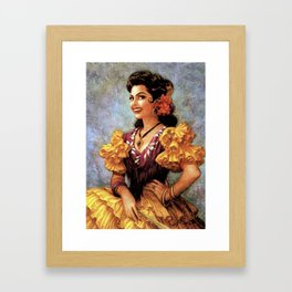 Mexican Golden Flamenco Calendar Girl by Jesus Helguera Framed Art Print