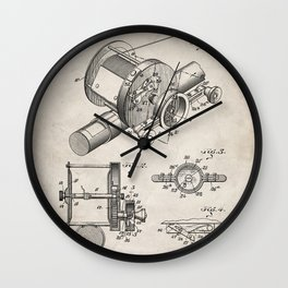 Fishing Reel Patent - Fishing Rod Art - Antique Wall Clock
