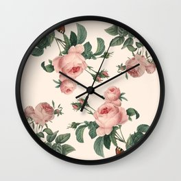 Rose Garden Butterfly Pink Wall Clock