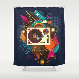 Goodtime Party Music Retro Rainbow Turntable Graphic Shower Curtain