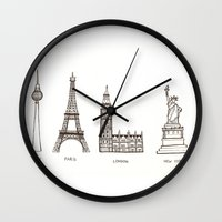 cities Wall Clocks featuring Cities by johanna strahl