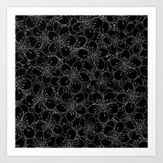 Cherry Blossom Black on White - In Memory of Mackenzie Art Print