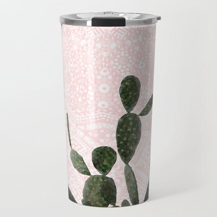 Cactus on Pink and Persian Mosaic Wall Travel Mug