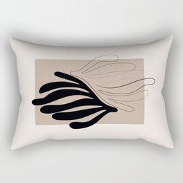 Florid - Henri Matisse Style Abstract Minimal Art Illustration - Black and Beige Floral Design Rectangular Pillow