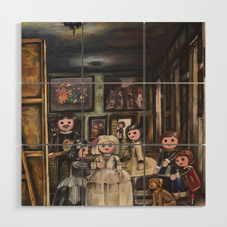 Meninas playmobil wood wall art by pedroillustration