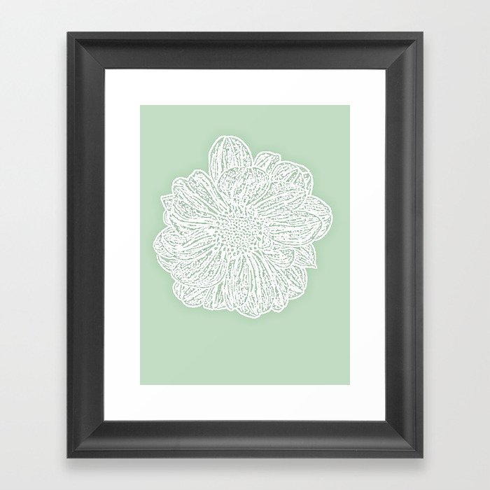 Single White Dahlia Lino Cut Soft Sage Green Framed Art Print