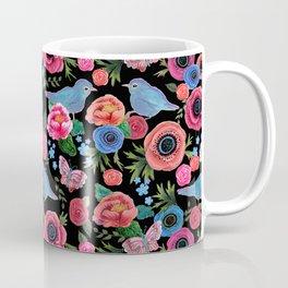 Mod floral bright & butterflies & birds Coffee Mug