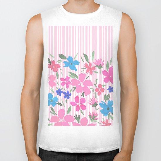 Floral Spring and Stripes Pink Biker Tank