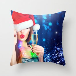 Wallpaper New year Winter hat young woman Sparklin Throw Pillow