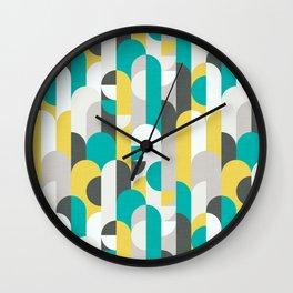 Bauhaus Retro Yellow & Turquoise Wall Clock