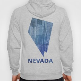 Nevada map outline Steel blue clouded wash drawing paper Hoody