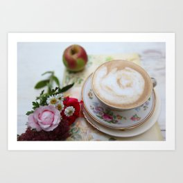 Latte Teacup & Country Diary Art Print