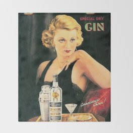 Seagers Special Dry Gin Alcoholic Cocktails Vintage Advertisement Poster Throw Blanket