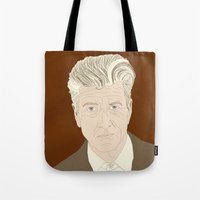 david lynch Tote Bags featuring LYNCH by Itxaso Beistegui Illustrations