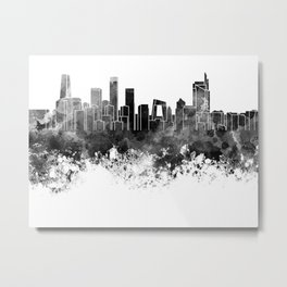 Beijing skyline in black watercolor on white background Metal Print
