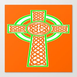 St Patrick's Day Celtic Cross White and Green Canvas Print