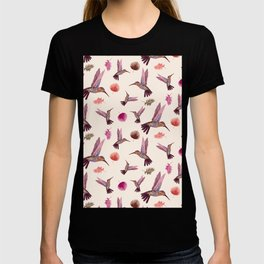 Hummingbird & Tropical Leaves - Soft Pastel Pattern T-shirt