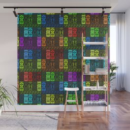 Tikis in a Rainbow of Colors! Wall Mural