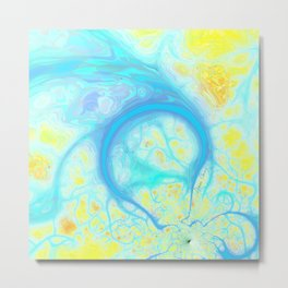 Streams of Joy – Abstract Cosmic Aqua & Lemon Metal Print