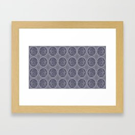 Grisaille Charcoal Blue Grey Neo-Classical Ovals Framed Art Print