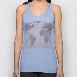 Rosegold Marble Map of the World Unisex Tank Top