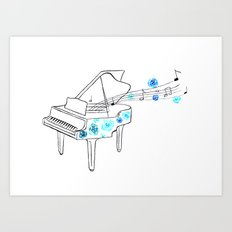 Piano with blue roses Art Print