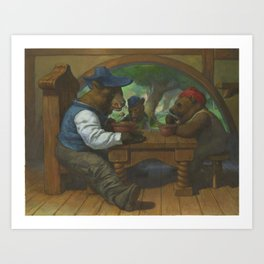 The Three Bears Eating Porridge Art Print