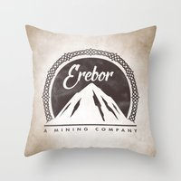 aragorn Throw Pillows featuring Erebor mining company by Nxolab