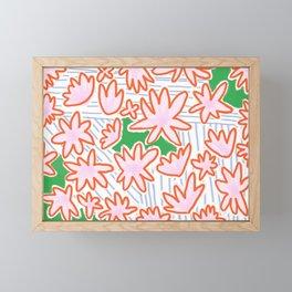 Flowers, lines & green Framed Mini Art Print