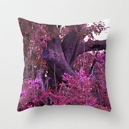 Pink red alien planet tree bright Throw Pillow
