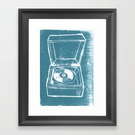 Record Player Lino Framed Art Print