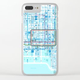 Chicago map in blue Clear iPhone Case