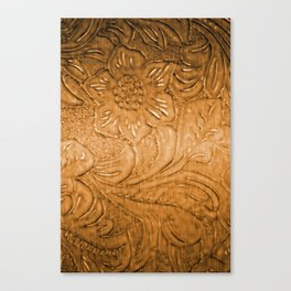 Golden Tan Tooled Leather Canvas Print