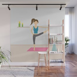 Yoga Girl In Extended Hand To Toe Pose Cartoon Illustration Wall Mural