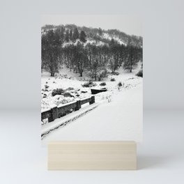 Snowing Forest And A Fishing Boat Mini Art Print