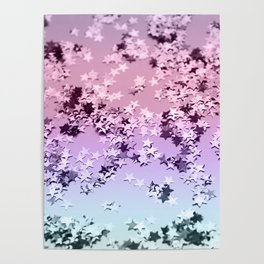 Unicorn Girls Glitter Stars #1 #shiny #pastel #decor #art #society6 Poster