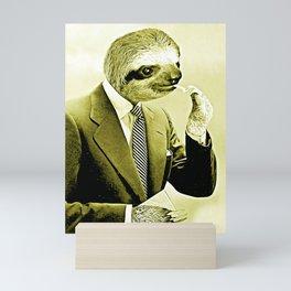 Sloth Lighting a Cigarette - Cartoon version Mini Art Print