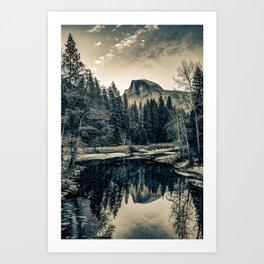 Yosemite Half Dome Mountain Landscape Reflections in Sepia Art Print