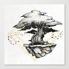 Lonely Tree Inktober :: The Air Seems Restless Canvas Print