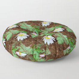Diagonal rows of nodding flowers Floor Pillow