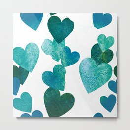 Blue Grungy Hearts Metal Print