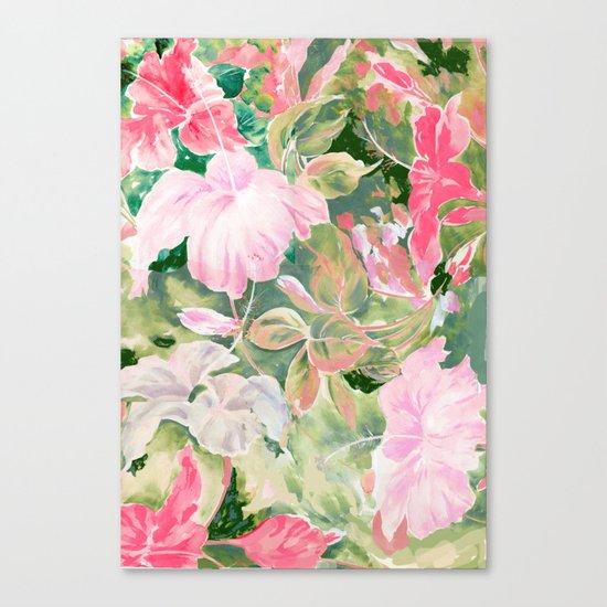 hibiscus tropical watercolor Canvas Print