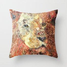 Impasto Sienna Lion Painting Throw Pillow