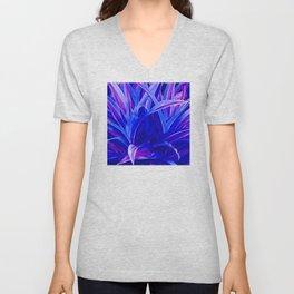 Exotic, Lush Fantasy Blue and Neon Pink Leaves Unisex V-Neck