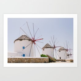 Mykonos windmills Art Print