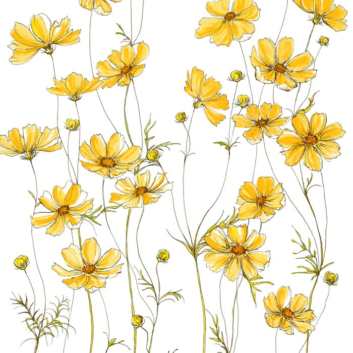 Yellow Cosmos Flowers Duvet Cover